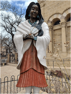 St. Kateri in front of St. Francis Cathedral.