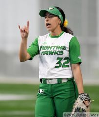 April 19, 2019 UND Softball vs Western Illinois. Photo by Russell Hons