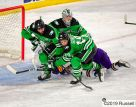 October 18, 2019 A NCAA men's college hockey game between the University of North Dakota Fighting Hawks and Minnesota State University Mavericks at Mankato Civic Center in Mankato, MN. Photo by Russell Hons