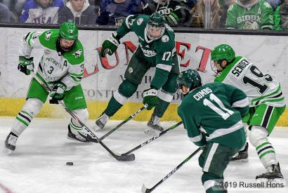 October 26, 2019 A NCAA men's college hockey game between the Bemidji State Beavers and the University of North Dakota Fighting Hawks at Ralph Engelstad Arena in Grand Forks, ND. UND won 4-1. Photo by Russell Hons