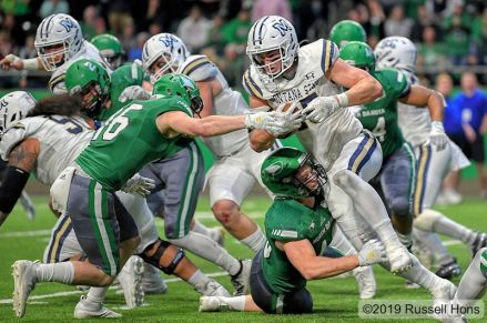 October 26, 2019: a NCAA FCS football game between the #9 Montana State Bobcats and the University of North Dakota Fighting Hawks at the Alerus Center, Grand Forks, North Dakota. North Dakota won 16-12. Photo by Russell Hons