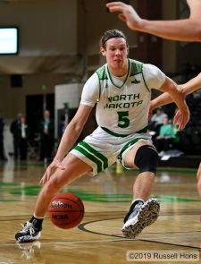November 26, 2019: an exhibition NCAA men's basketball game between North Central University Rams and the University of North Dakota Fighting Hawks at the Betty Engelstad Sioux Center, Grand Forks, ND. Photo by Russell Hons
