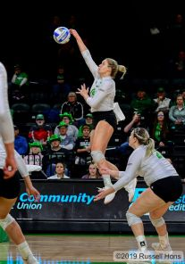 November 15, 2019 a NCAA volleyball game between Oral Roberts University and North Dakota at the Betty Engelstad Sioux Center in Grand Forks, ND. Photo by Russell Hons