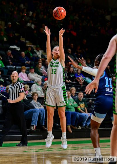 November 15, 2019: a NCAA basketball game between the Rhode Island Rams and the University of North Dakota Fighting Hawks at Betty Engelstad Sioux Center in Grand Forks, ND. North Dakota won 67-61. Photo by Russell Hons