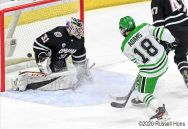 January 11, 2020 during the NCAA men's hockey game between the Omaha Mavericks and the University of North Dakota Fighting Hawks at Ralph Engelstad Arena in Grand Forks, ND. Photo by Russell Hons
