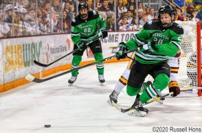 January 24, 2020 a NCAA men's ice hockey game between the University of North Dakota Fighting Hawks and the Minnesota Duluth Bulldogs at Amsoil Arena in Duluth, MN. UMD defeated UND 7-4. Photo by Russell Hons