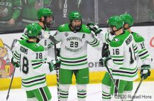 January 3, 2020 during the NCAA men's hockey game between the Alabama-Huntsville Chargers and the University of North Dakota Fighting Hawks at Ralph Engelstad Arena in Grand Forks, ND. UND defeated UAH 5-2. Photo by Russell Hons
