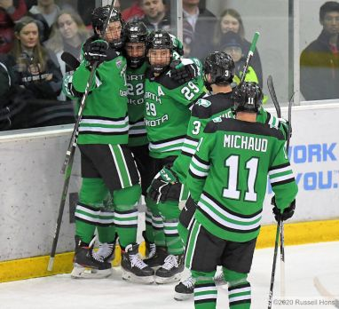 A NCAA D1 hockey game between the University of North Dakota Fighting Hawks and the St. Cloud State Huskies at the Herb Brooks National Hockey Center, St. Cloud, MN. Mandatory photo credit: Russell Hons