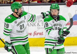 February 15, 2020 a NCAA men's ice hockey game between the Denver Pioneers and the University of North Dakota at Ralph Engelstad Arena, Grand Forks, ND. UND won 3-1. Photo by Russell Hons