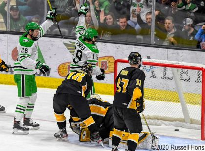 February 1, 2020 a NCAA men's ice hockey game between Colorado College and the University of North Dakota at Ralph Engelstad Arena, Grand Forks, ND. North Dakota won 8-1. Photo by Russell Hons