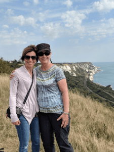White Cliffs of Dover, Battle of Britain Memorial, my sister, Beckie & me. This was a deeply spiritual moment for us as 75-years before our father had crossed the English Channel bound for the Normandy beaches on D-Day (He boarded at Portsmouth, west of here).