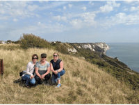 White Cliffs of Dover, Beckie, Lillian, and Katie. Yes, we could see France. Later I was told there were signs warning us of poisonous asps.