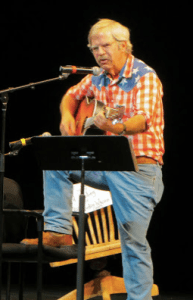"""Bart Koehler performing at Wilderness 2000 (photo credit Sandy Marviney). Steve Robbins and I attended this gathering where Bart sang a song in honor of Mardy Murie, on the occasion of the premiere of the film about Mardy, titled """"Arctic Dance."""""""
