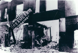 Greenwood's famous Dreamland Theater after a white mob numbering in the thousands burned Tulsa's thriving African American community to ground on June 1, 1921. Three hundred people were killed, the vast majority of them black. About 10,000 were left homeless.