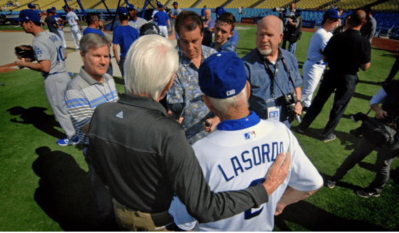 Reconciliation at Dodger Stadium. (photo by Rich Kee)