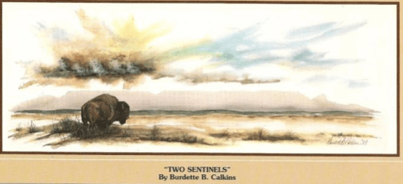 "Burt Calkins' ""Two Sentinels,"" the inspiration for North Dakota's license plate since 1992."