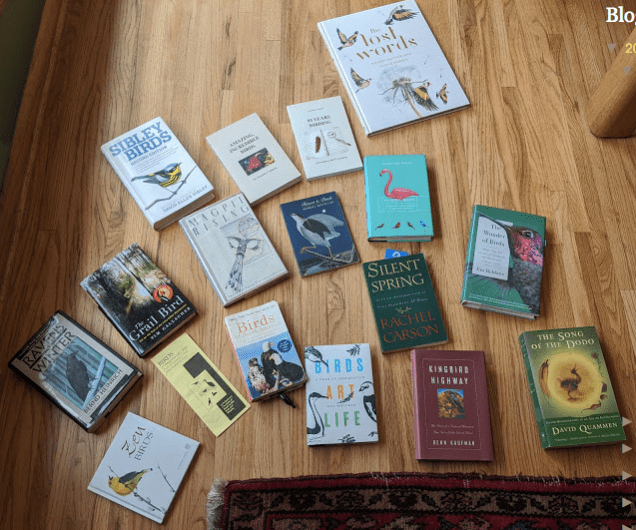 A mosaic, taken by Lillian Crook, of some of the books at Red Oak House that inspire our lives. Yes, we know some — not all — of the writers. And yes, we have read the books.