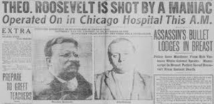 Newspaper headline announcing the assasination attempt on Theodore Roosevelt.