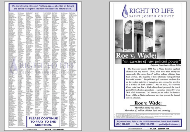 The South Bend right-to-life newspaper petition.