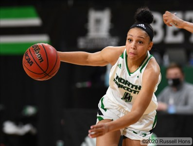 November 29, 2020: a NCAA women's basketball game between the Marquette University Golden Eagles and the University of North Dakota Fighting Hawks at Betty Engelstad Sioux Center in Grand Forks, ND. Photo by Russell Hons