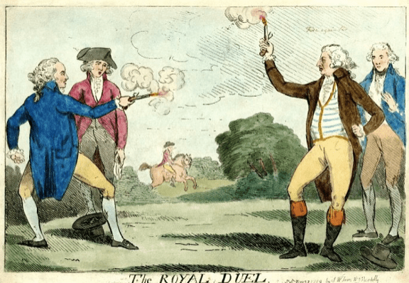 Burr-Hamilton duel on the west bank of the Hudson River at Weehawken, N.J., on July 11, 1804. Hamilton purposely missed, but Burr shot to kill his adversary.