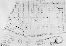 This layout for the experimental city of Jeffersonville, Indiana, was drawn during Jefferson's lifetime. The squares with gridlines are for shops and houses. The blank squares with diagonal roadways are parkland.