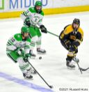 January 24, 2021: A NCAA men's hockey game between Colorado College and the University of North Dakota Fighting Hawks at Ralph Engelstad Arena, Grand Forks ND. North Dakota won 5-0. Photo by Russell Hons