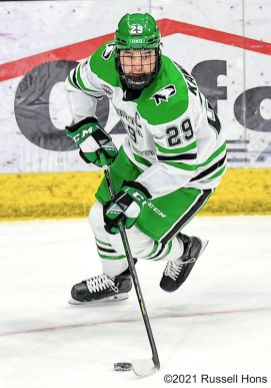 February 19, 2021 NCAA men's hockey game between the Omaha Mavericks and the University of North Dakota Fighting Hawks at Ralph Engelstad Arena in Grand Forks, ND. Photo by Russell Hons