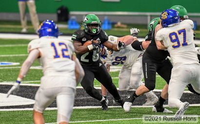 February 27, 2021: a NCAA FCS football game between the South Dakota State Jackrabbits and the University of North Dakota Fighting Hawks at the Alerus Center, Grand Forks, ND UND defeated SDSU 28-17. Photo by Russell Hons