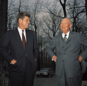 Presidents John F. Kennedy and Dwight D. Eisenhower. (JFK Library)