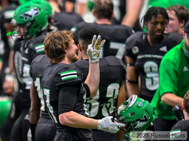 March 4, 2021: a NCAA FCS football game between the University of South Dakota Coyotes and the University of North Dakota Fighting Hawks at the Alerus Center, Grand Forks, ND North Dakota won 21-10 Photo by Russell Hons