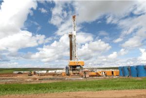 A drilling rig near Williston, one of the 18,000 wells in North Dakota.