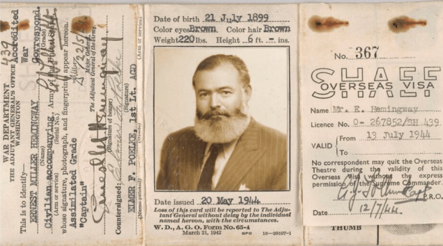 Hemingway's passport. (Ernest Hemingway Collection. John F. Kennedy Presidential Library and Museum, Boston)