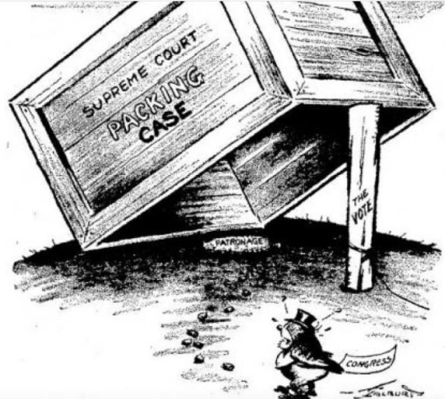 A 1937 magazine cartoon depicting a trap set in a court packing plan by President Franklin Delano Roosevelt. (Pathfinder Magazine, April 17, 1937, via oldmagazinearticles.com)