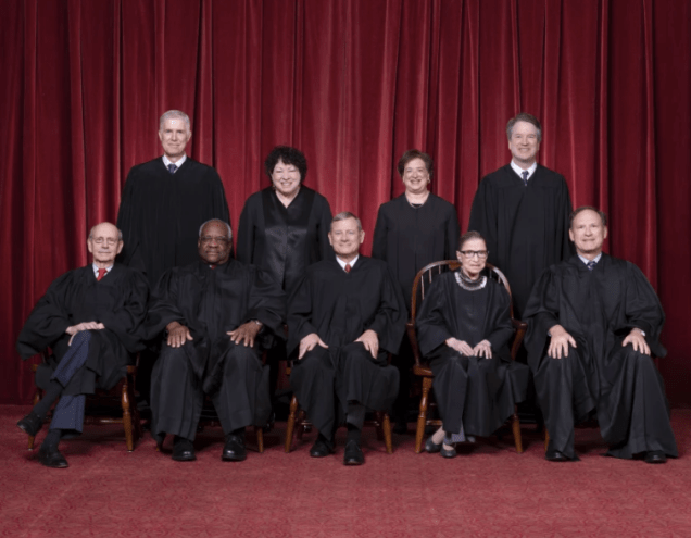 The Roberts Court, November 30, 2018. Seated, from left to right: Justices Stephen G. Breyer and Clarence Thomas, Chief Justice John G. Roberts, Jr., and Justices Ruth Bader Ginsburg and Samuel A. Alito. Standing, from left to right: Justices Neil M. Gorsuch, Sonia Sotomayor, Elena Kagan, and Brett M. Kavanaugh.(Photo: Fred Schilling, Collection of the Supreme Court of the United States)