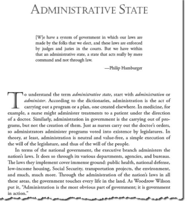 """The entry for Administrative State in the book, """"Language of Liberty."""""""