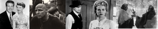 Competing but incomplete narratives: From left to right, The Adventures of Ozzie and Harriet, Apocalypse Now, High Noon and Dances with Wolves (Screen captures)