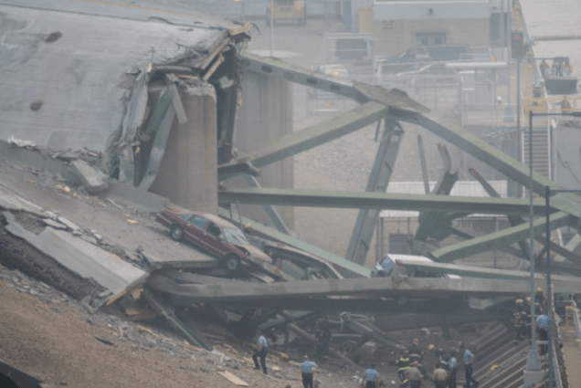 The Interstate 35W Mississippi River Bridge in Minneapolis was 1,907 feet long, had 14 spans and by 2007 carried a daily average of 140,000 total vehicles north and south over four lanes. It was 40 years old when it collapsed catastrophically, killing 13 people and injuring 145, on Aug. 1, 2007. (Flickr/Tony Webster)