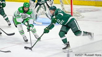 during an NCAA exhibition hockey game between the Bemidji State Beavers and the University of North Dakota Fighting Hawks at Ralph Engelstad Arena in Grand Forks, ND on Saturday, October 2, 2021. Russell Hons