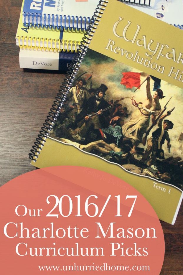 Our 2016/2017 Charlotte Mason Homeschool Curriculum Picks