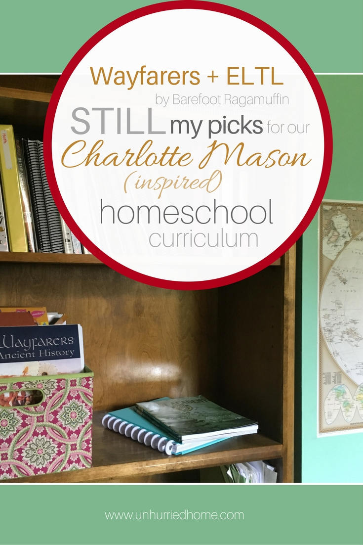 My homeschool curriculum picks for our Charlotte Mason-inspired homeschool include: English Lessons Through Literature, Reading Lessons Through Literature, Brave Writers' Jot it Down and Faltering Ownership, Wayfarers for History, Geography and Health, Beast Academy for Math, Science in the Ancient World, and more. So much more.
