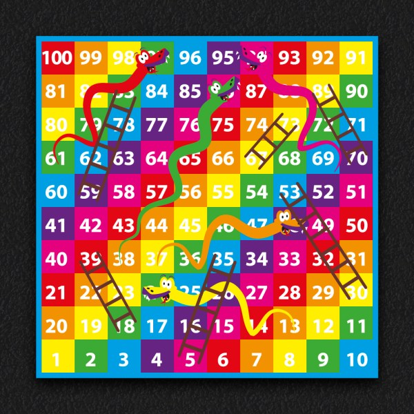 1 100 Snakes and Ladders SOLID 2 - 1-100 Snakes & Ladders