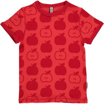Maxomorra red apple t-shirt organic cotton