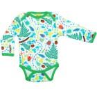 DUNS Sweden bugs print organic cotton long sleeve bodysuit