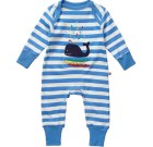 Whale applique organic playsuit by Piccalilly