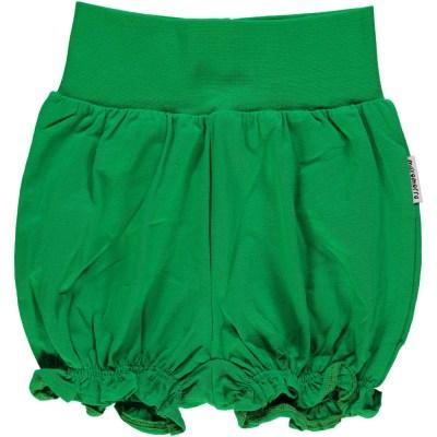 Maxomorra basics green balloon shorts organic cotton
