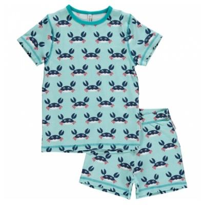 Maxomorra crab short pyjamas organic cotton
