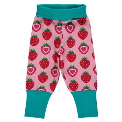 Maxomorra strawberry organic cotton rib pants trousers