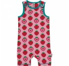 Strawberry short playsuit dungarees by Maxomorra in organic cotton