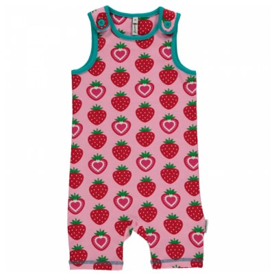 Maxomorra strawberry organic cotton short dungarees